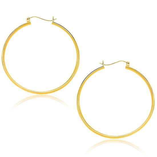 10k Yellow Gold Polished Hoop Earrings (40mm)idx RJ66638